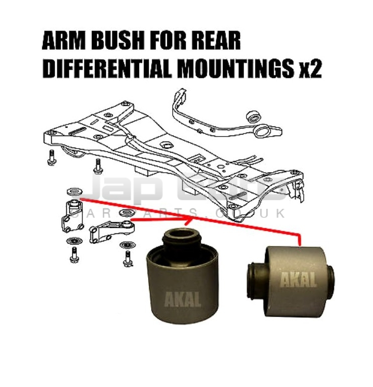 FOR MITSUBISHI OUTLANDER 03-06 REAR DIFFERENTIAL DIFF MOUNT ARM BUSHES x 2