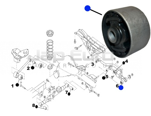 Arm Bushing For Rear Track Control Rod Nissan Elgrand E50 ZD30DTTi 3.0 TD 1999-2001